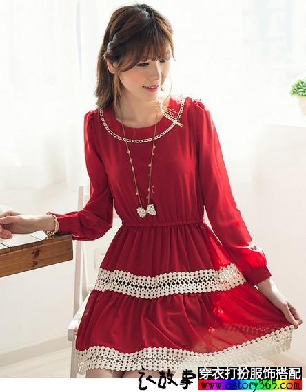 春款红色裙子搭配图片
