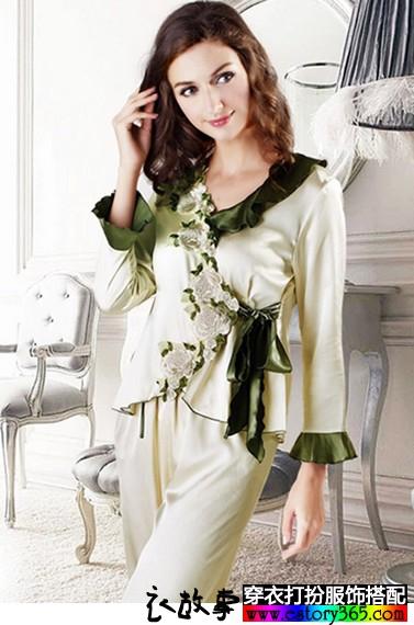 丝绸花边睡衣两件套
