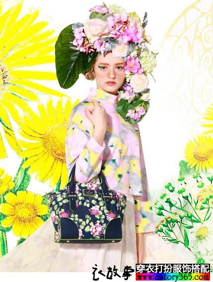 复古花朵单肩手提包