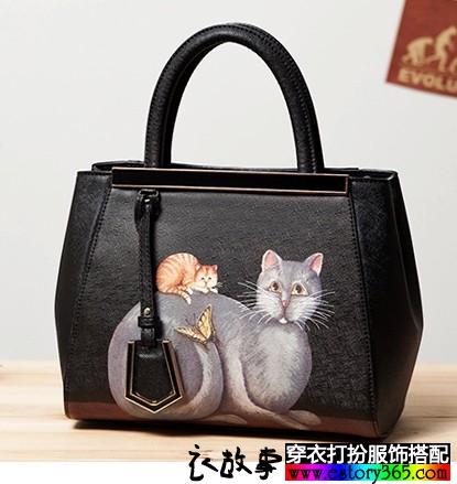 猫咪印花手提女包