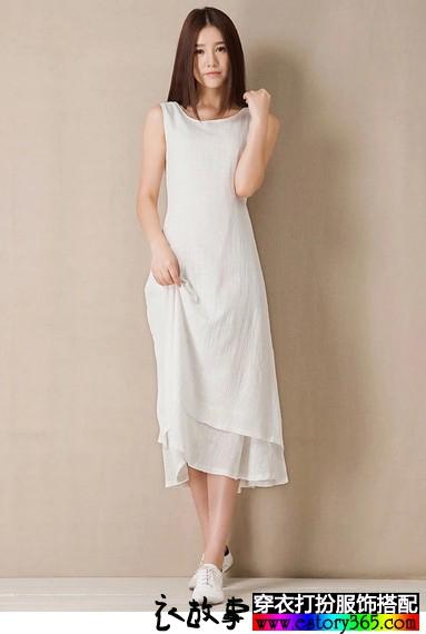 棉麻背心长款裙