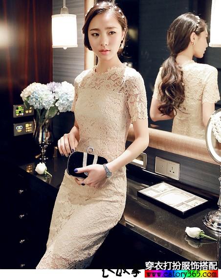 蕾丝镂空连衣长裙