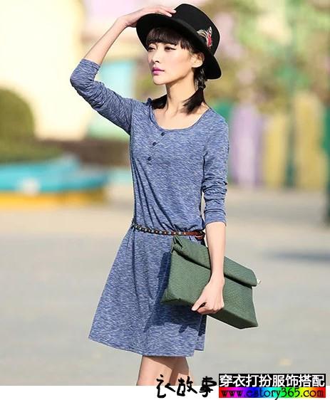 纯色针织连衣裙