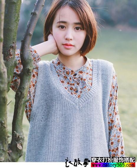 日系V领兔毛无袖针织衫