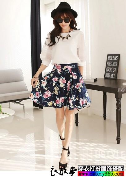 印花裙装两件套