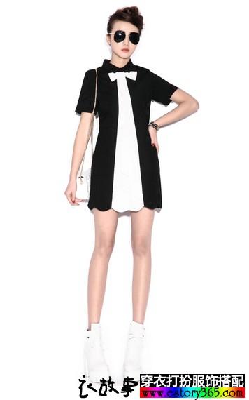 黑白撞色短袖连衣裙