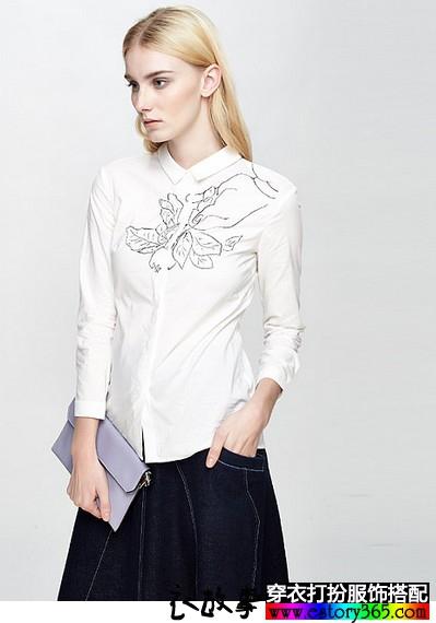 立领修身印花白衬衫