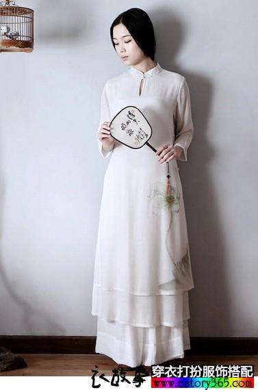 禅茶中式古风长袍长裙
