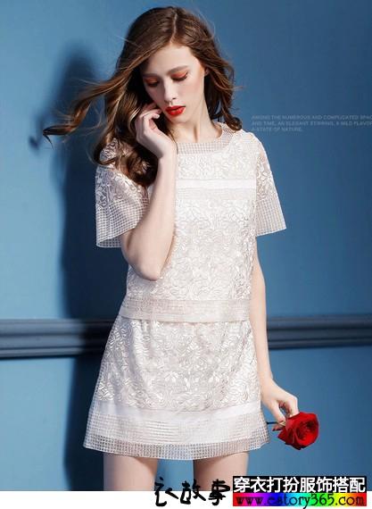欧根纱刺绣套装裙