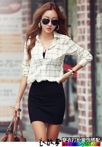 格子印花纯棉长袖衬衫