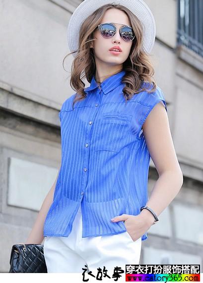 直筒型条纹方领无袖衬衫