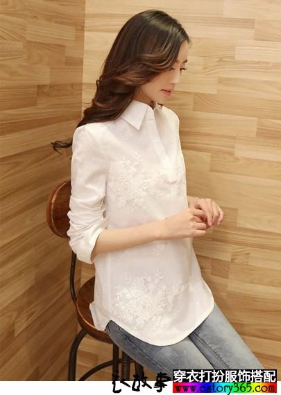 白色绣花休闲棉麻衬衫