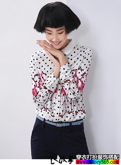 印花撞色波点雪纺衬衫