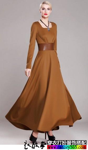 方领拼接高腰连衣裙