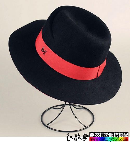 大檐羊毛毡明星同款礼帽