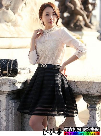 长袖蕾丝雪纺衫