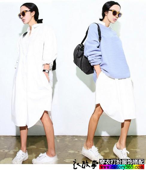 宽松纯棉白衬衫
