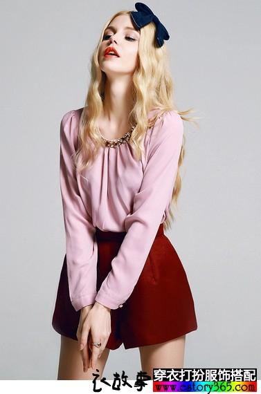 纯色镶钻雪纺衫