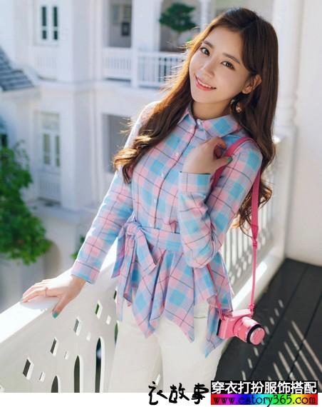 格子蝴蝶结衬衫