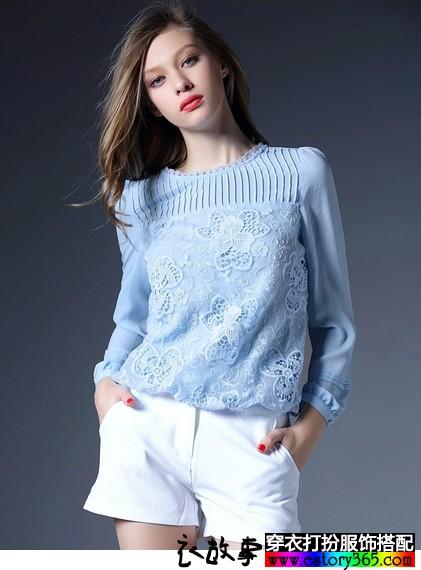 圆领镂空刺绣雪纺衫