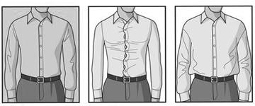 穿好衬衫并且将下摆系进裤子之后,腰带上面的部分要平整,不能有堆积的痕迹,系进裤子的部分也不能将裤子撑起来,同样要平整: