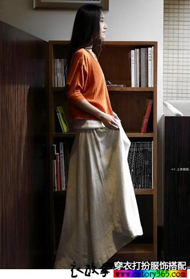 复古风亚麻半身裙