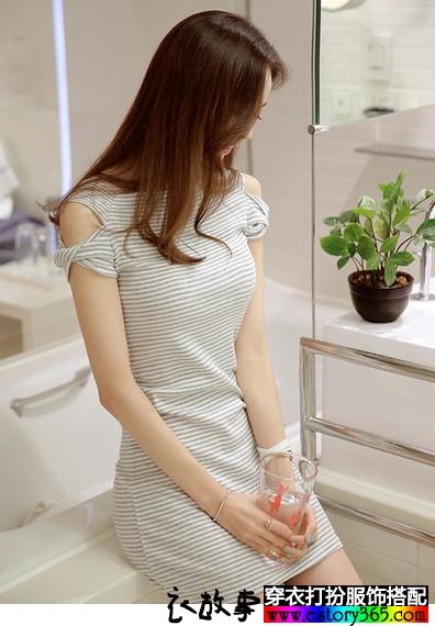 纯棉针织条纹包臀裙