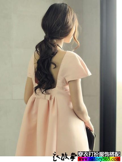 蝴蝶结露背公主裙