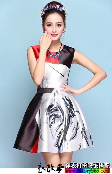 水墨蓬蓬连衣裙