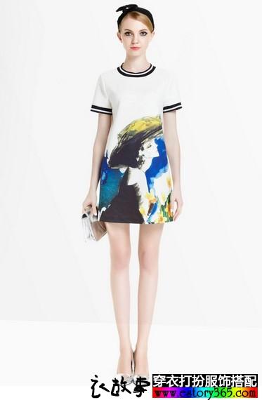水墨印花气质T恤裙