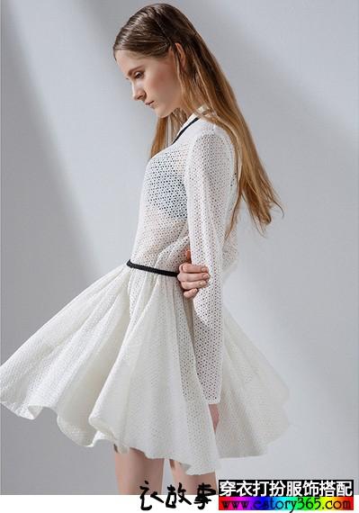 蕾丝镂空勾花连衣裙
