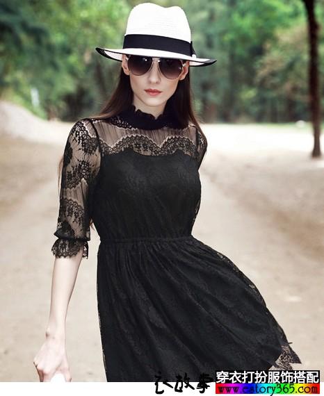 中袖修身镂空蕾丝裙