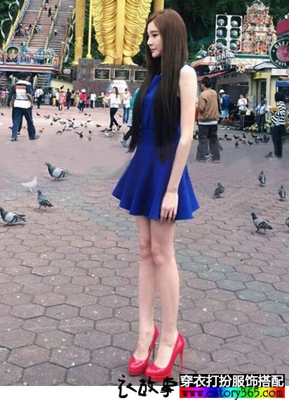 中高腰宝蓝无袖连衣裙