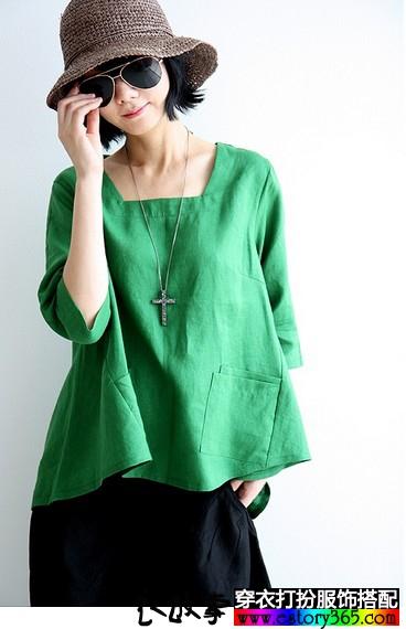 纯色棉麻衬衫
