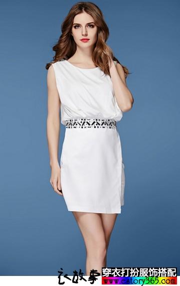 欧美钉珠雪纺连衣裙