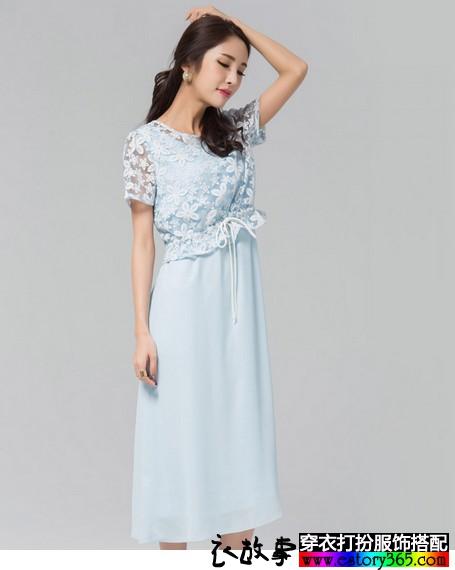 蕾丝罩衫淡雅长裙套装