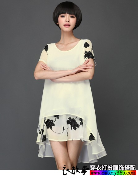 A字印花大码连衣裙