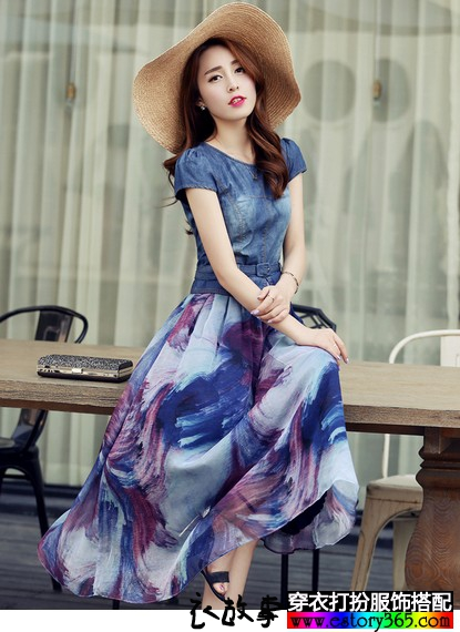 波西米亚印花连衣裙
