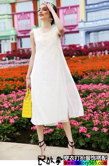 刺绣真丝波西米亚连衣裙