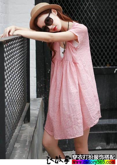 复古两件套棉麻连衣裙