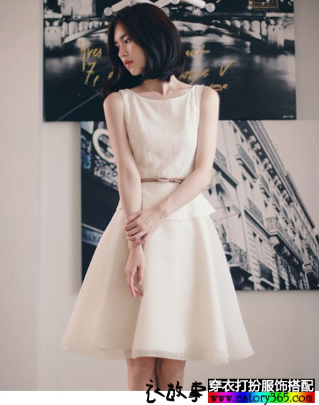 蕾丝拼接雪纺欧根纱背心裙