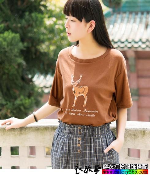 复古鹿印花圆领T恤
