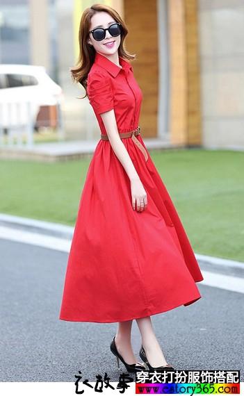 翻领纯色短袖连衣裙