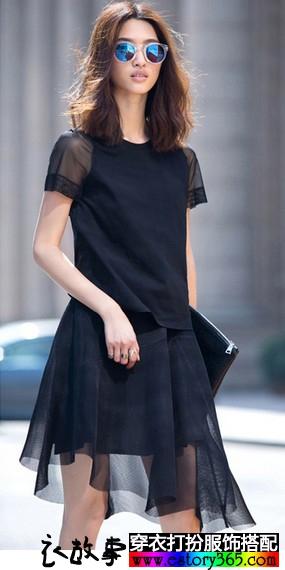 圆领网纱短袖T恤