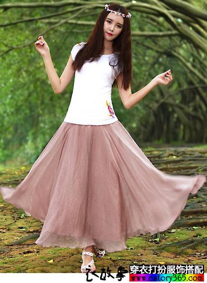 大摆纯色半身裙