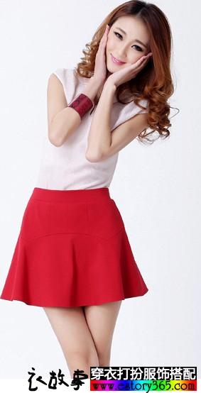 纯色高腰伞裙