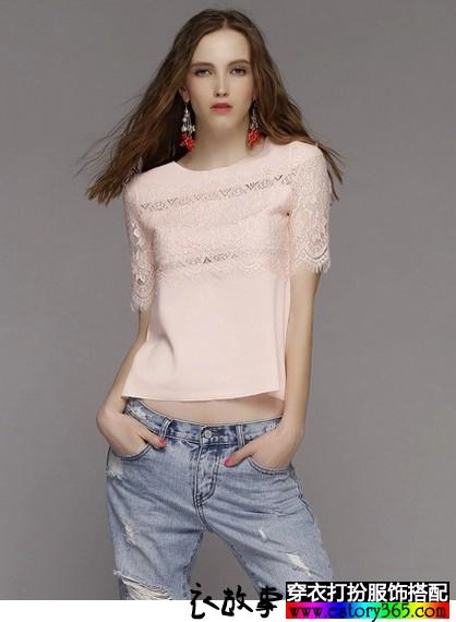 镂空蕾丝短袖T恤