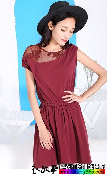 蕾丝松紧腰短袖连衣裙