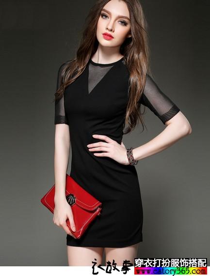 V领网纱连衣裙