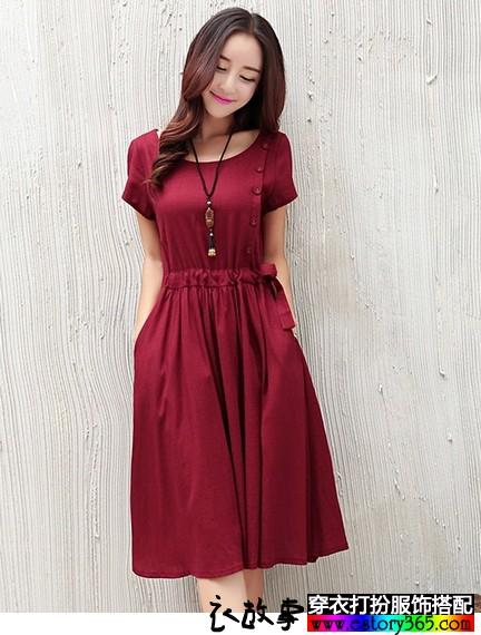 短袖棉麻连衣裙